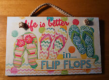 LIFE IS BETTER IN FLIP FLOPS Tropical Pink Pool Beach Summer Sign Home Decor NEW