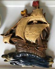 Vintage Chalkware Sailing Ship Clipper Ship Galleon Colorful wall plaque decor