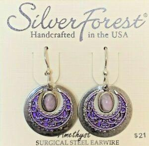 SILVER FOREST PURPLE AMETHYST DROP DANGLE SURGICAL STEEL EAR WIRE EARRINGS