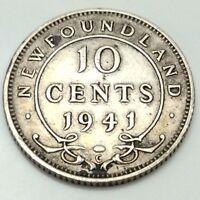 1941C Newfoundland Canada 10 Ten Cents Dime Canadian Circulated D573