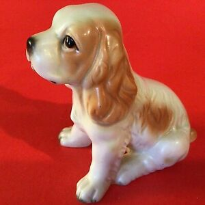 COCKER SPANIEL DOG FIGURINE INARCO JAPAN PORCELAIN E-2074 VINTAGE TAN AND WHITE