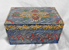 Hand Painted and Lacquered Antique Effect Indian Wooden Box - BNWT