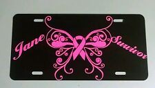Breast Cancer Butterfly Ribbon license plate car tag awareness pink personalized