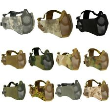 Adjustable Airsoft Half Face Mask w/ Ear Protection Steel Wire Hunting Mesh Mask
