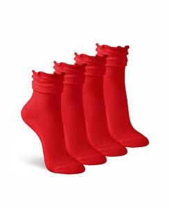Jefferies Socks Womens Ankle Ruffle Dress Cotton Knit Crew Cuff Slouch Sock 4 PK