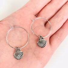 Earrings Jewellery Other Blogger Stories Silver Plated Hoop Sea Shell Charm