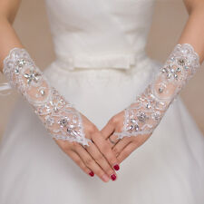 Women Lady Lace Long Fingerless Wedding Accessory Crystal #A Bridal Party Gloves