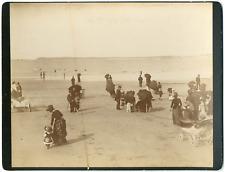 France, Saint-Malo, la plage, vue animée  vintage albumen print Tirage album
