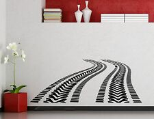 Tire Tracks Wall Decal Road With Traces Vinyl Sticker Garage Art Mural (301xx)