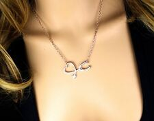 New Medical Doctor Nurse Stethoscope Heart Silver Pendant Chain Love Necklace