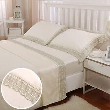 4 Pcs 100% Cotton Vintage Lace Ivoy Queen Size Bed Sheet Set