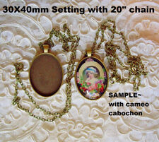 "30X40mm Cameo Cabochon Setting With 20"" Chain Antique Bronze"