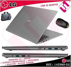 Laptop LG 14Z980 Intel I5 8250U 14 W10 8GB 256GB SSD Briefcase Mouse Teletrabajo