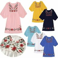Vintage Ethnic Floral Embroidered Boho Mexican Peasant Tunic Gypsy Dress V-Neck