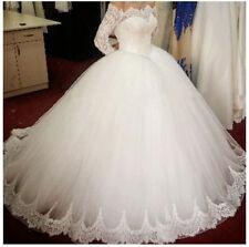 2018 Modest White ivory Wedding Dress A-Line Bridal Dress Ball Gowns Custom Size