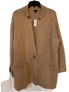 Nwt Talbots Woman Plus Size 1X Camel Lamb's Wool Gallery Sweater Jacket