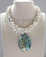 "17 "" 3row white keshi reborn freshwater pearl necklace +Abalone shell pendant"