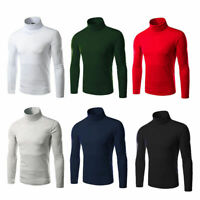 Men's Knitted Roll Turtle Neck Pullover Sweater Jumper Tops New Casua Uxym S3R8