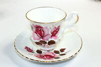 Vintage Royal Dover Bone China England Tea Cup Saucer Pink Rose MINT