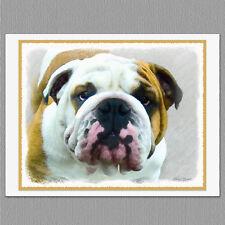 6 Bulldog English British Dog Blank Art Note Greeting Cards