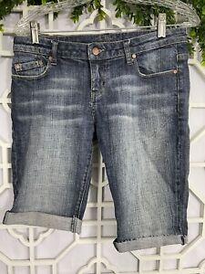 American Rag Blue Denim Distressed Cotton Jean Shorts Size 3 Hem