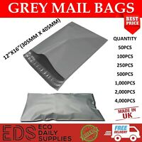 "Grey Mailing Bags Strong Postal Postage Post Self Seal All Quantities- 12"" x 16"""