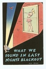 Linen WW2 Comic Postcard,What We Found in Last Night's Blackout
