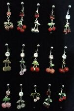 Stainless Steel Cherry Dangly Dangling Belly Navel Bars Body Piercing 12mm B20