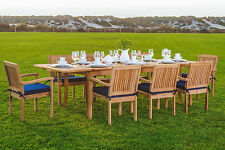"""Leve 9-pc Outdoor Teak Dining: 94"""" Rectangle Extn Table, 8 Stacking Arm Chairs"""