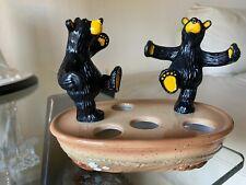 Rare! Bearfoots Bears Ceramic Toothbrush Holder By Jeff Fleming Big Sky