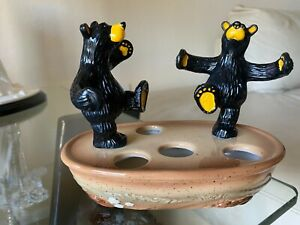 Rare! BEARFOOTS Bears Ceramic Toothbrush Holder By Jeff Fleming Big Sky