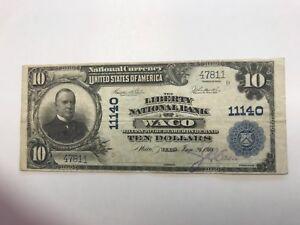 Waco Texas  , $10 Liberty national Bank , 1902 , VF