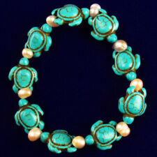 1 Strand Blue Turquoises Tortoise stretchy bracelet 7 inch yl051401