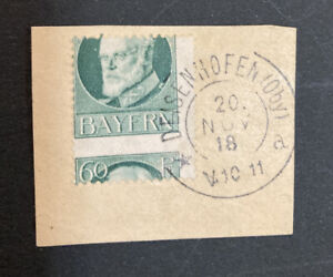 Bavaria Bayern 1918 Mi 102 Perforation error on piece used