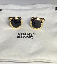 Montblanc Meisterstuck gold Coloured & Blue Goldstone Inlay Steel Cufflinks