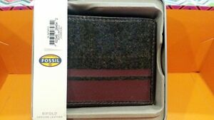 Authentic FOSSIL wool front men's bifold Wallet Genuine Charcoal Leather