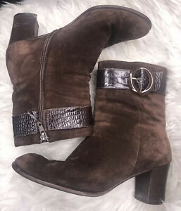 Salvatore Ferragamo Brown Suede Leather Ankle Boots Heels Buckle Detail 8.5 B