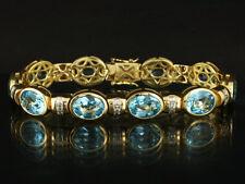 Modernes Topas Armband mit Carre-Diamanten ca. 31,50ct  41g 750/- Gelbgold