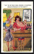 C1960s Cartoon/ Comic - Big landlady in bar 'Champion breast-stroker'