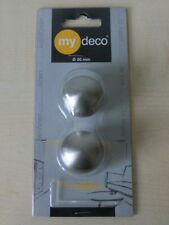 2 x my deco Endstück ball 20 mm Edelstahloptik Gardinenstange MD 60985