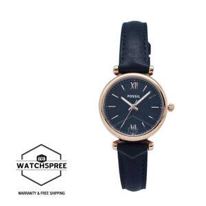Fossil Ladies' Carlie Mini Three Hand Black Leather Watch ES4700