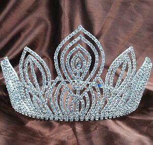 "Fantastic Large 5.25"" Tiaras Handmade Clear Rhinestones Crowns Dimante Headpiece"