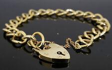 "9ct Yellow Gold 7.5"" Curb Link Charm Bracelet W/ Heart Padlock Clasp 8mm Width"