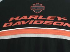 Harley-Davidson Pullover Shirt Men Sz S Black Orange Colorblock Long Sleeve Hvy