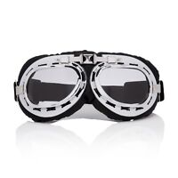 Silver + Clear Flying Motorcycle Scooter Goggles Retro Vintage Steampunk Glasses