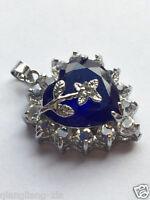 hot Genuine Jewelry blue CZ Necklace Pendant Free Chain