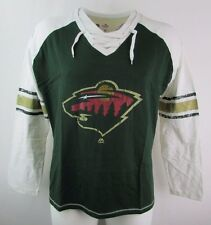 Minnesota Wild Women's Long Sleeve Lace-Up Jersey Tee Shirt NHL Majestic A14 064