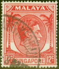 Singapore 1952 12c Scarlet SG22a Very Fine Used