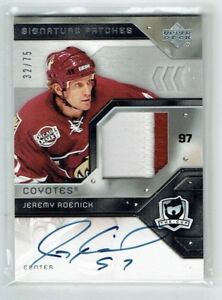 06-07 UD Upper Deck The Cup Signature Patches  Jeremy Roenick  /75  Auto  Patch