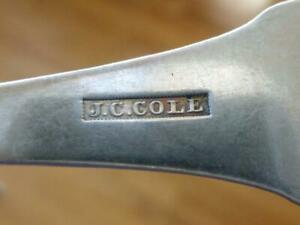 """1820 JC COLE ROCHESTER NY COLONIAL Coin Silver Spoon Tablespoon 8.25"""" ROGERS"""